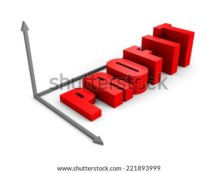 concept PROFIT text bar graph on white. 3d render illustration