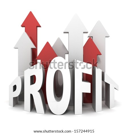 concept PROFIT text letters with growing up arrows - stock photo