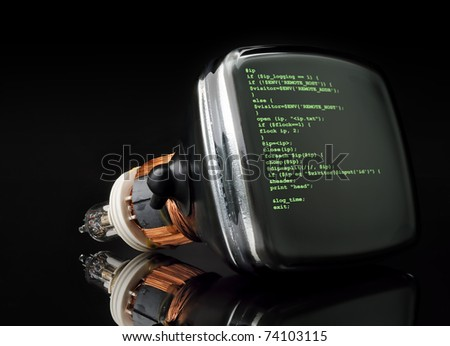Concept program hacker code on old television tube black background