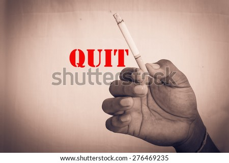 concept Quit smoking hand man hold cigarette - stock photo