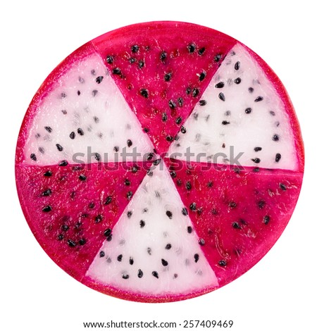 concept radioactive of slice red and white dragon fruit, Pitaya or Cactus is isolated on white background - stock photo