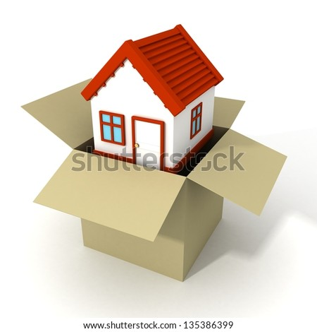 concept real estate house out of the cardboard box - stock photo