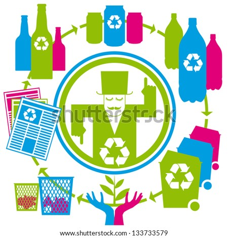 concept recycling with cans, tins, bottles, papers and bins - stock photo