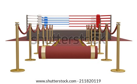 concept. red event carpet to a boxing ring red  isolated on a white background. High resolution 3d render