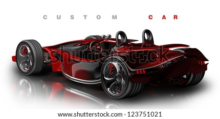 Concept. red sport car  (No trademark. it is design and the 3d model completely exclusive it is developed and made personally me) High resolution 3d render - stock photo