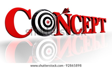 concept red word and target with arrow on white background