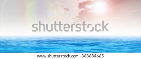 Concept sea or ocean water waves and rainbow sky cloudscape exotic or paradise background banner metaphor to nature, peace, summer, travel, tropical, tourism, environment, vacation or holiday seascape - stock photo