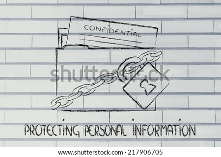 concept security of data and personal information, folder with lock and chains - stock photo
