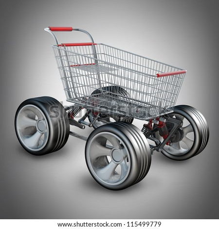 Concept. shopping cart with big car wheel High resolution 3d render - stock photo