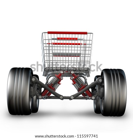 Concept. shopping cart with big car wheel isolated on white background High resolution 3d render - stock photo