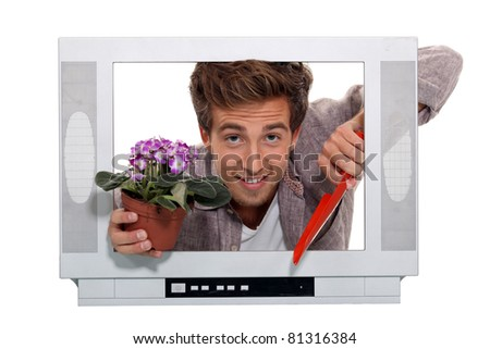 Concept shot showing gardening television programmes - stock photo