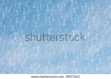 Concept shot with hundreds of old keys floating around the canvas over a blue special cloudy sky. - stock photo