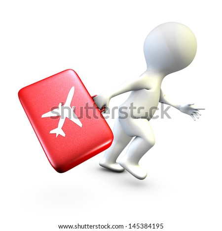 Concept showing the action of a person late who tries to catch his plane at time - stock photo