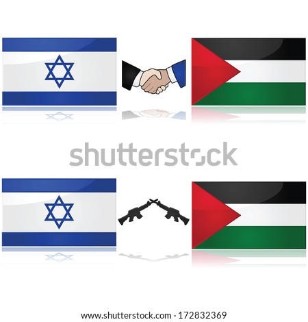 Concept showing the flags of Israel and Palestine divided by weapons or a handshake, signifying war and peace - stock photo
