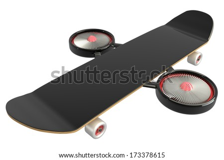 Concept. Skateboard two turbine engines. isolated on white background. 3d - stock photo