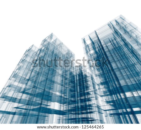 Concept skyscrapers. Design and 3d model my own - stock photo