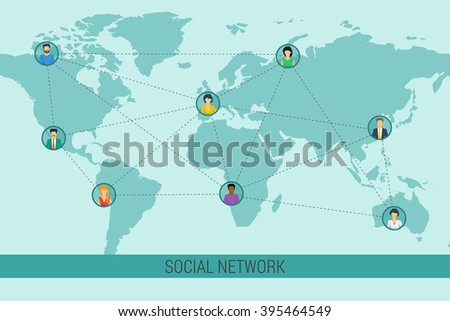 Concept social network communication around the globe. Various men and woman on world map with connecting lines. Flat style. Web infographics - stock photo