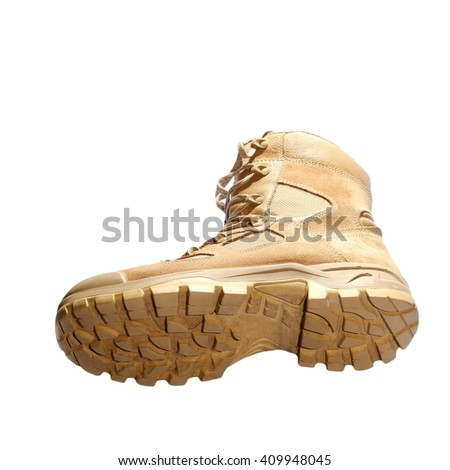 concept sole of boots, combat boot isolated on white background - stock photo