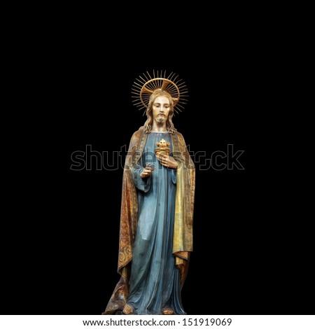 Concept statue of jesus religion,symbol,silhouette on background black, Christ,face,metaphor,religious,Jesus,faith,prayer,god,belief, church - stock photo