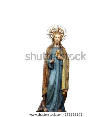 Concept statue of jesus religion,symbol,silhouette on background white ,Christ,face,metaphor,religious,Jesus,faith,prayer,god,belief, church - stock photo