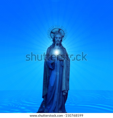 Concept statue of jesus religion,symbol,silhouette on background with blue skies and sea sun rays,Christ,face,metaphor,religious,Jesus,faith,prayer,god,belief,church   - stock photo