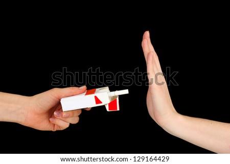 Concept: stop smoking, on black background - stock photo