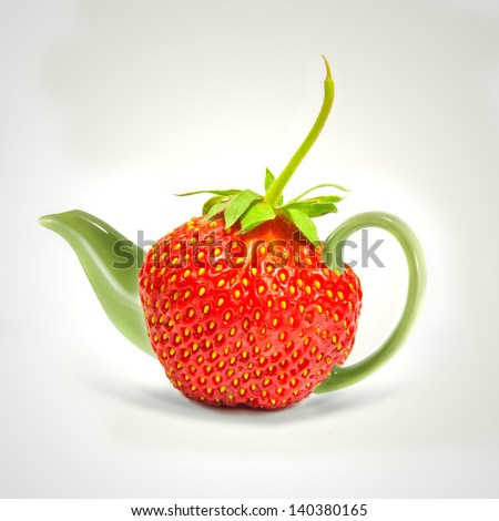 Concept strawberry teapot - stock photo