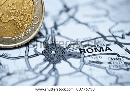 Concept studio shot depicting current economic issues surrounding the Italian economy and the Euro. - stock photo