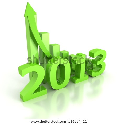 concept 2013 success bar chart with growing arrow - stock photo
