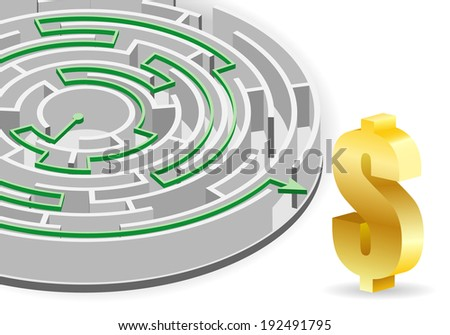 Concept - Success in Business. Circular Labyrinth with the solution and Dollar Sign, illustration. - stock photo