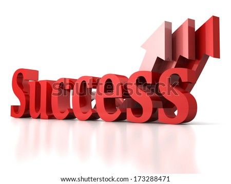 concept success text letters with growing red arrows background - stock photo