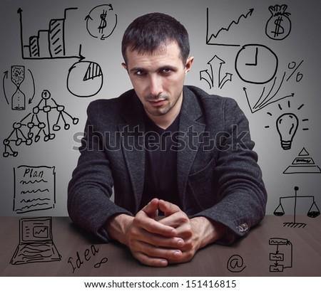 Concept  successful businessman - stock photo