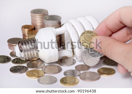 concept, symbolizing economic efficiency of power-saving bulb - stock photo