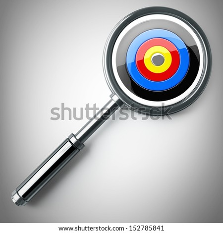 Concept. target magnifying glass. High resolution 3D image