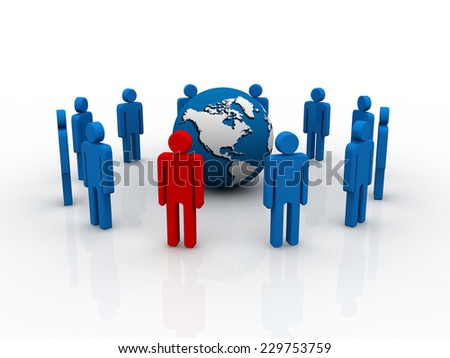 concept team leader in center of business 3d people group - stock photo