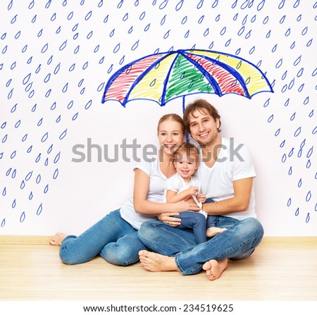 concept: the social protection of the family. family took refuge from the miseries and rain under an umbrella - stock photo
