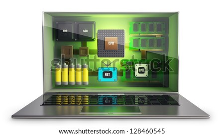 CONCEPT. thin laptop with the three-dimensional screen and processor, memory, video, network, batteries, inside. isolated on white background  High resolution 3D - stock photo