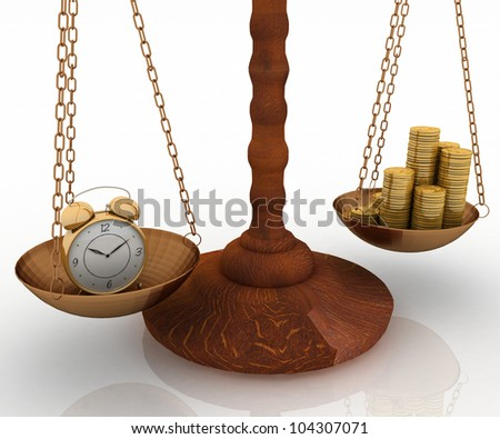 concept time is money, clock and money on scales. 3d illustration - stock photo