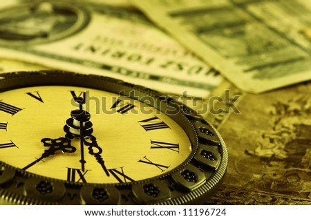 concept Time is money stylized as antique . Shallow DOF