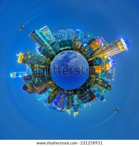 Concept Travel, Landscape building the business district of the city at night. - stock photo