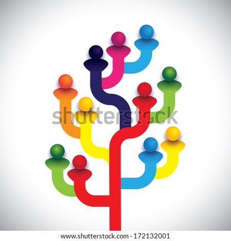 concept tree of company employees working together as a team. The graphic  illustration represents the structure of a company with people, relationship between close circle of family members - stock photo