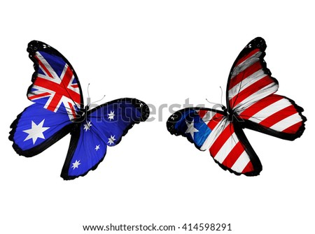 Concept - two butterflies with Australia and Liberia flags flying