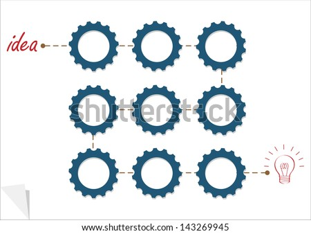 Concept vector template with gear wheels. Variation -3 - stock photo