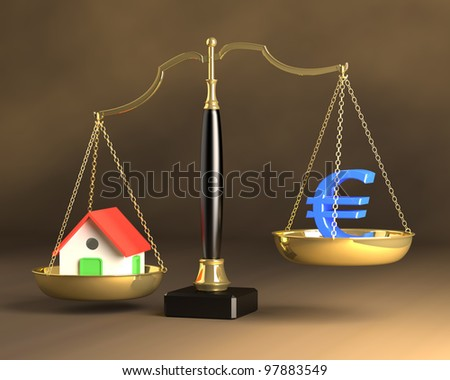 Concept weight hanging on 'real estate investment. - stock photo