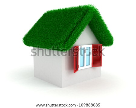 concept white house with green grass housetop roof - stock photo