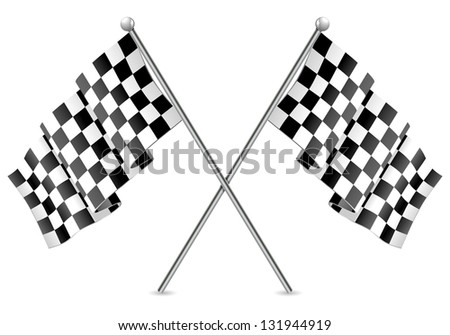 Concept - Winner. Two Racing Checkered Flags Finish, isolated on white background