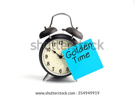 concept with alarm clock andcyan golden time adhesive note - stock photo