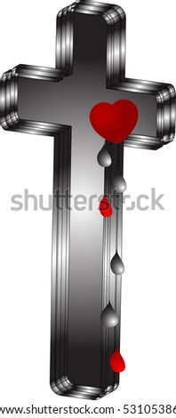 Concept with crucifix and heart