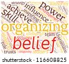 Concept with great terms Organizing, Power, Leadership. Word collage. - stock photo