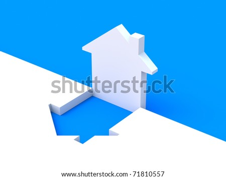 Concept with house shape - stock photo
